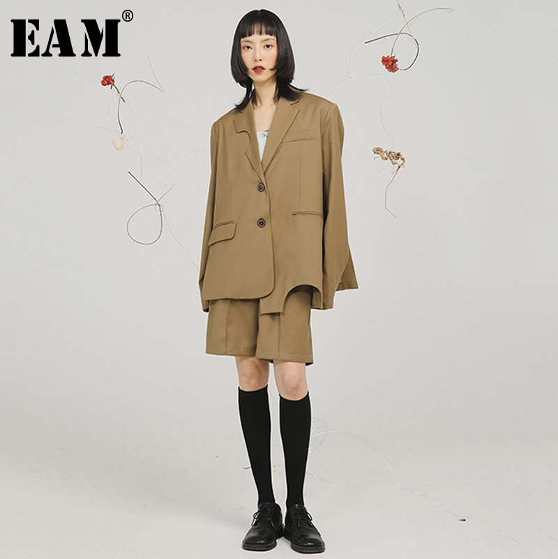 [EAM]  Women Brown Round Hem Split Big Szie Blazer New Lapel Long Sleeve Loose Fit  Jacket Fashion Tide Spring Autumn 2020 1S755