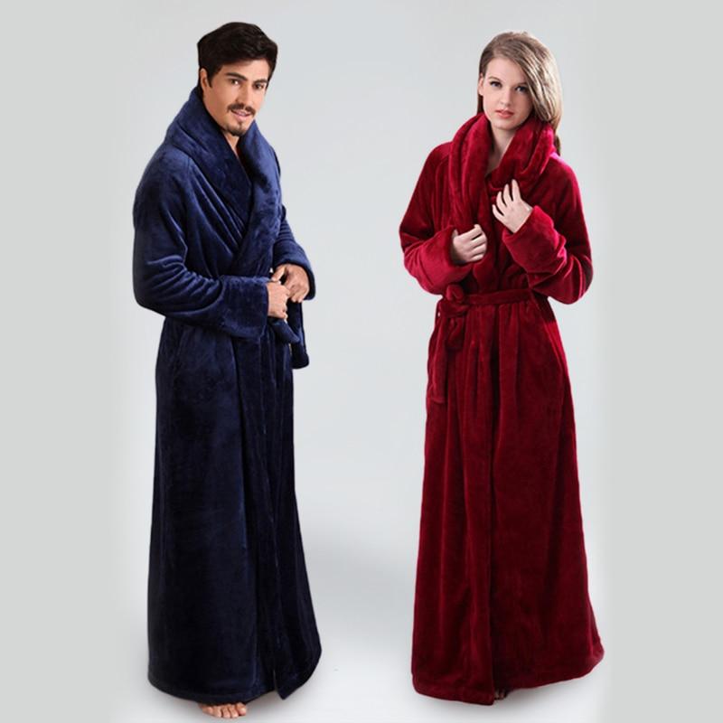 Men And Women's Ultra Long Bathrobe Flannel Floor Length Robes Plus Size Home Wear Sleepwear  Nightgown Dressing Gown