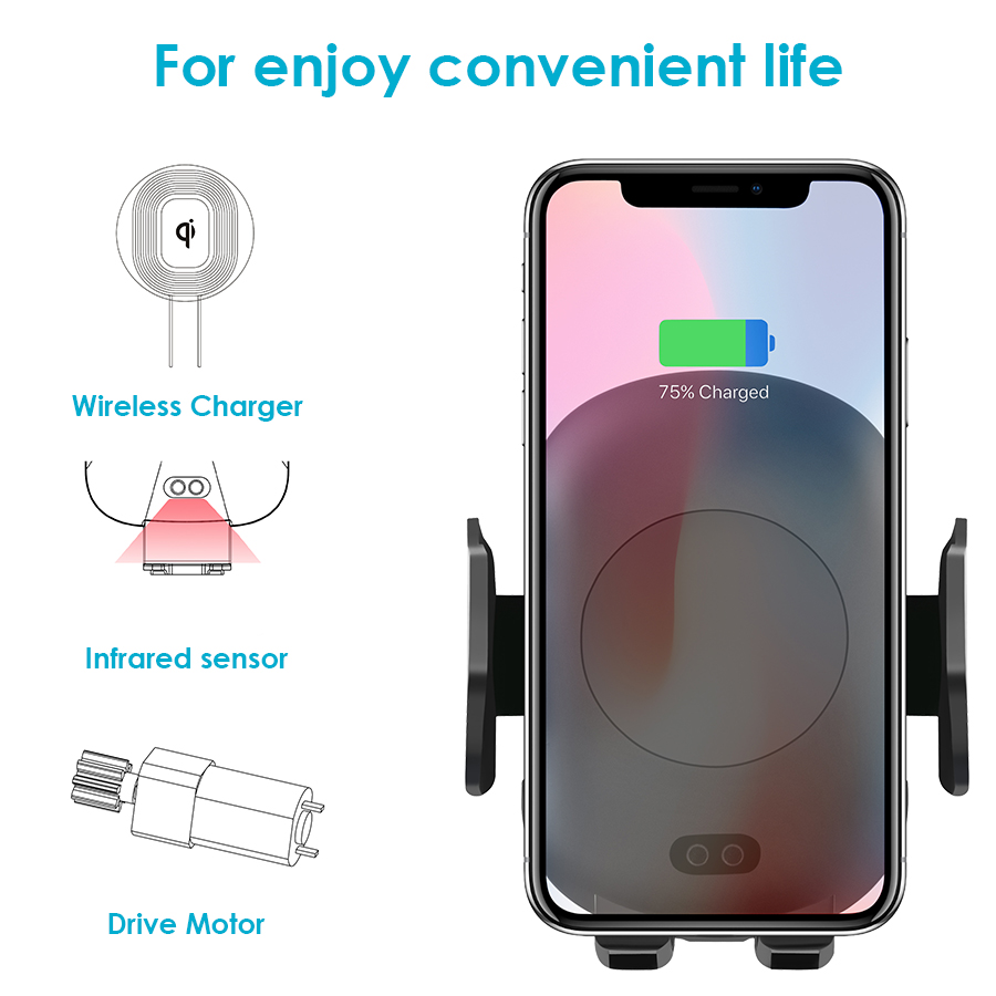 Image 2 - Qi Wireless Car Charger Phone Holder 10W Fast Charging Infrared Sensor Auto Clamping for iPhone X XS XR Max 8 Samsung S8 S9 S10Car Chargers   -