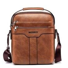Rahat erkek çantası için 10.5 inç iPad çanta erkekler omuz çantaları adam için askılı çanta iş erkek Crossbody çanta seyahat PU deri