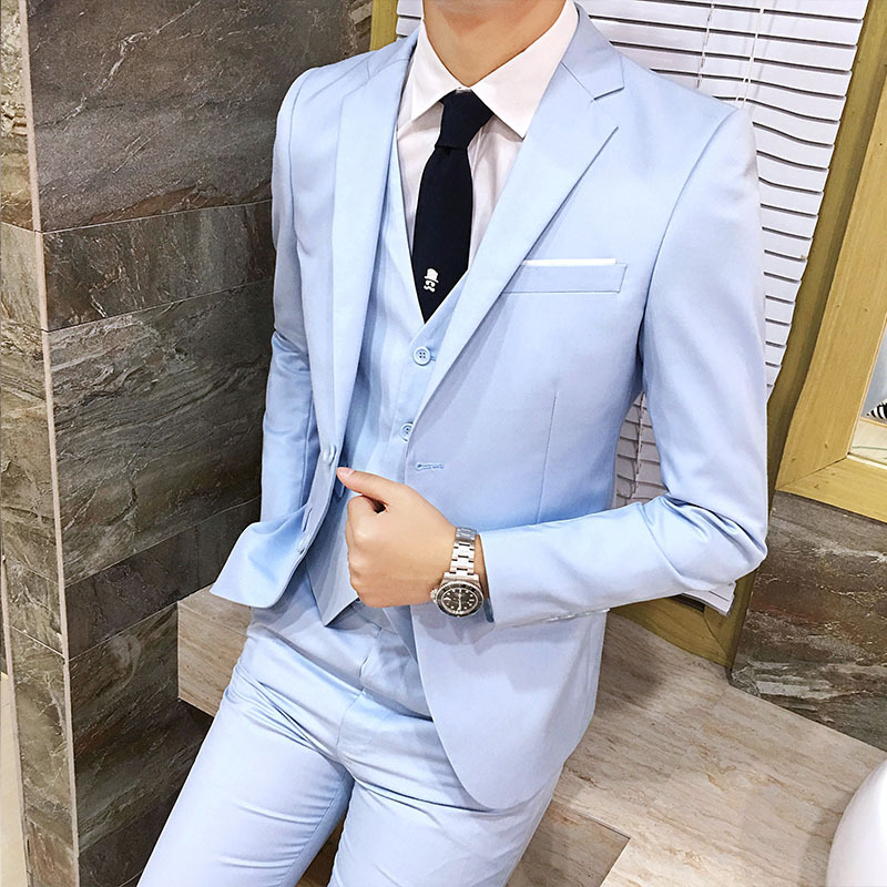 Casual Suit Men Three-piece Set Korean-style Slim Fit Formal Wear Groom Marriage Formal Dress England Business Small Suit