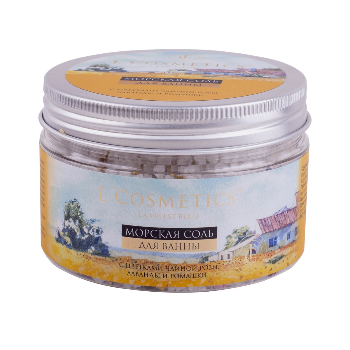Sea Bath Salt With Rose Tea Flowers, Lavender And Chamomile 250 Ml