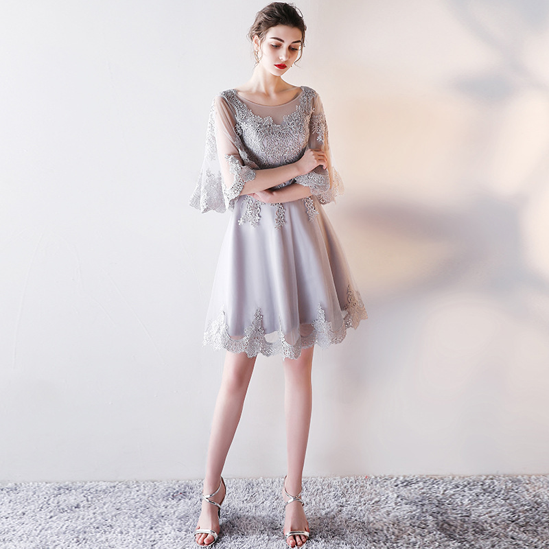 2019 New Fashion Cute Girly Short   Cocktail     Dress   Grey Lace Half Sleeves   Dresses   For Party