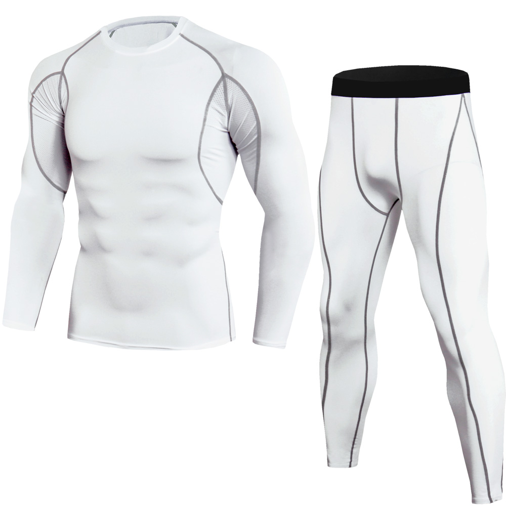 Men's Compression Running Sets Long Sleeves Tight Shirt + Pant Legging 2 Piece Set Teenager Tracksuit Suit Man Sportwear Dry Fit