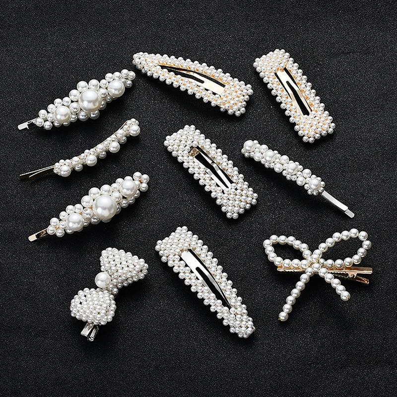 INS Hot Sale Pearl Hairpin Hair Clips Elegant Women Hair Accessories Girls Pearl Bows Barrette