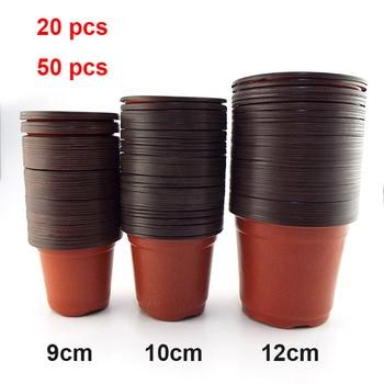 20pcs/50pcs Plastic Grow Box Fall Resistant Tray For Home Garden Plant Pot Nursery Transplant Flower Pots