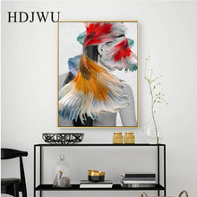 Nordic Abstract Fish Decoration Art Canvas Painting Picture Home Wall Printing Posters for Living Room DJ488