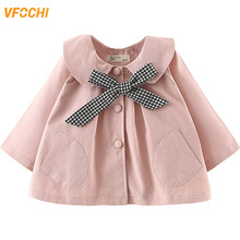 VFOCHI 2019 Baby Girl Trench Coat Windbreaker Fashion Pink Jacket Children Clothing Autumn Toddler Girls Outerwear