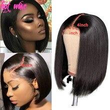 Brasileiro curto bob perucas 4x4 fechamento do laço cabelo humano em linha reta natural 1b/30 150 densidade parte livre remy cabelo para preto