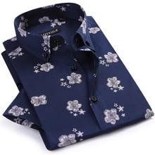 Erkek yaz ince kısa kollu çiçek baskılı gömlek rahat düğme aşağı yaka standart fit Casual bluz Tops gömlek