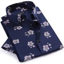Heren Zomer Dunne Korte Mouwen Bloemen Gedrukt Shirts Comfortabele Button Down Kraag Standaard Fit Casual Blouse Tops shirt