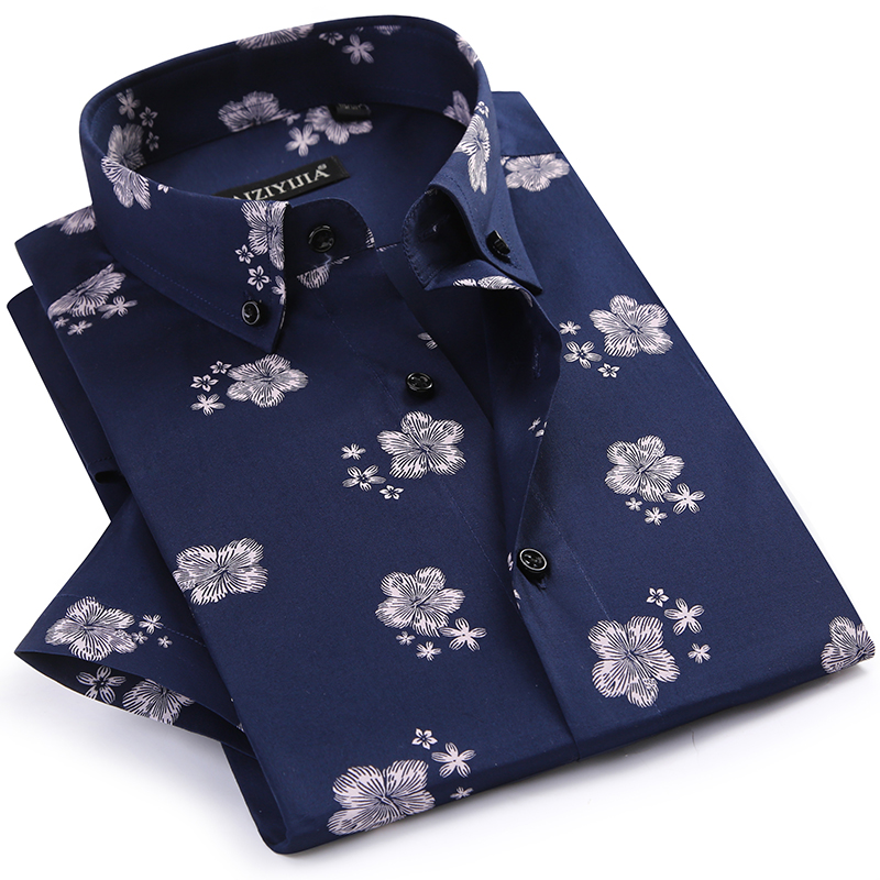 Men's Summer Thin Short Sleeve Floral Printed Shirts Comfortable Button-down Collar Standard-fit Casual Blouse Tops Shirt