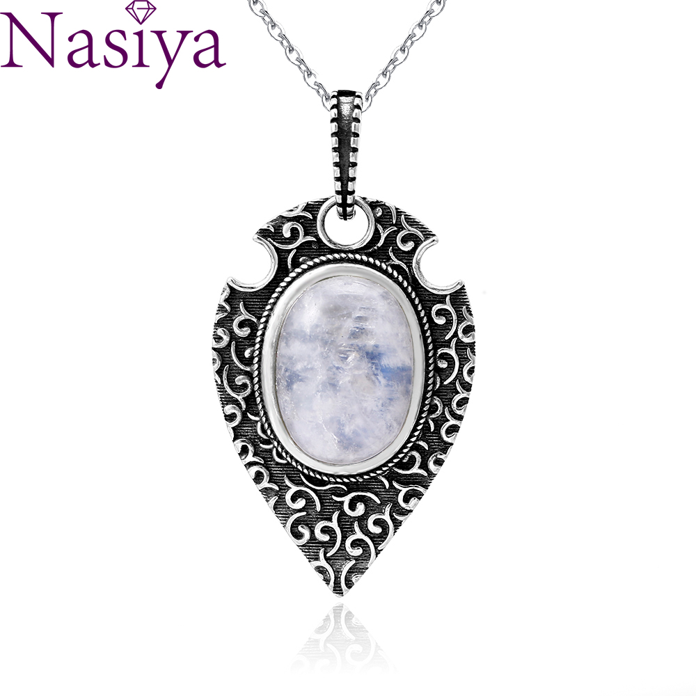 100% S925 Silver Necklace Pendant Large Oval 10*14MM Natural Moonstone Retro Bohemian Style Necklace Pendant Party