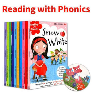 10Pcs Reading with Phonics Fairy Tale English Picture Book Little Red Riding Hood Early Education Cognitive Enlightenment Books