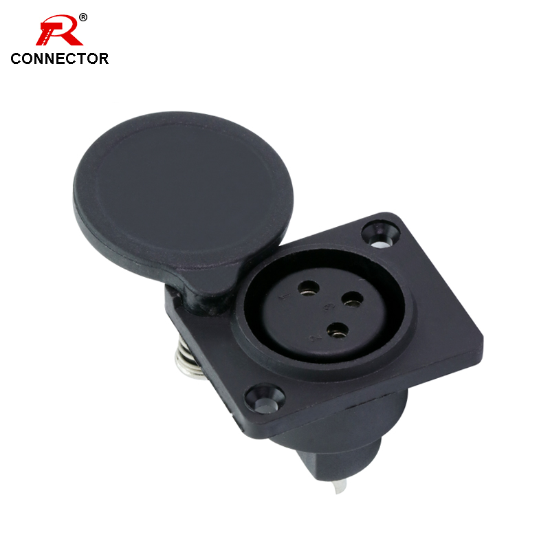 1pc XLR Connector, 3pins, XLR Female Socket, Panel Mount Type, With Protecting Cover, For Audio/Video