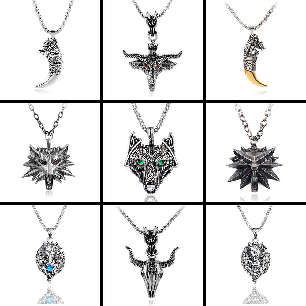 Vintage Norse Wolf Head Vikings Pendant Necklace Green Crystal Eyes Original Animal Necklaces For Women Men Fashion Jewelry