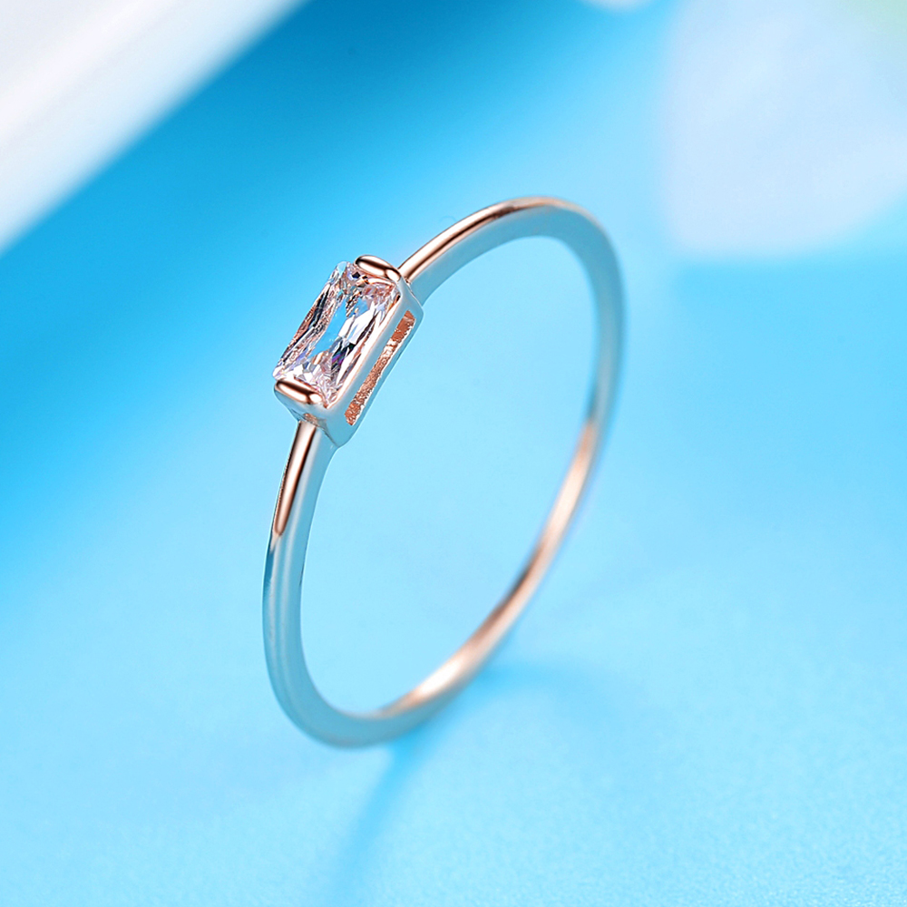Square Zircon Ring Woman Customizable Gift Cubic Zirconia Jewelry