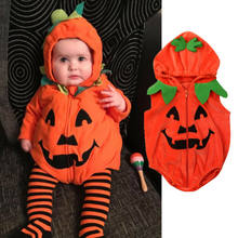 Newborn Girls Pumkin Print Halloween baby clothes Zipper Hooded Bodysuit Costume боди для новорожденных roupa infantil bebes(China)