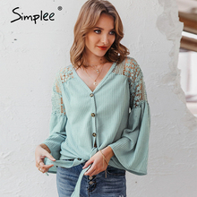 Simplee Sexy v neck women blouse Elegant lace embroidery hollow out loose sleeve office tops Lace up autumn female blouse shirts