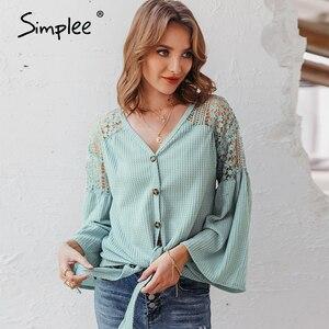 Image 1 - Simplee seksi v yaka kadın bluz zarif dantel nakış hollow out gevşek kollu ofis üstleri dantel up sonbahar kadın bluz gömlek
