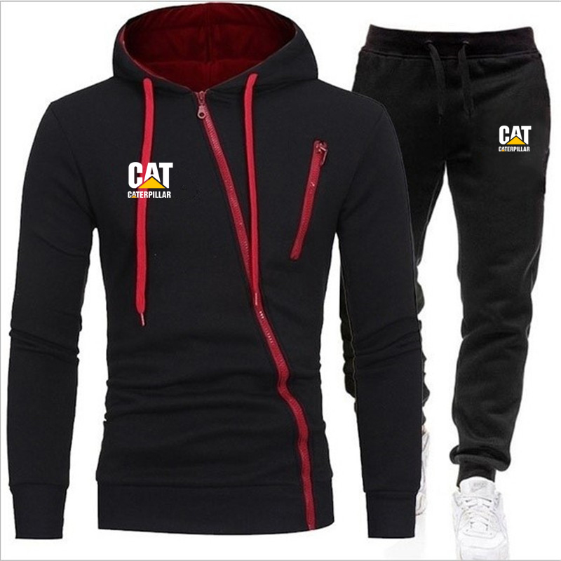 Men's Zipper Sportswear Sets 2020 Autumn Winter Hooded Thick Male Casual Tracksuit Men 2 Piece Sweatshirt + Sweatpants Set