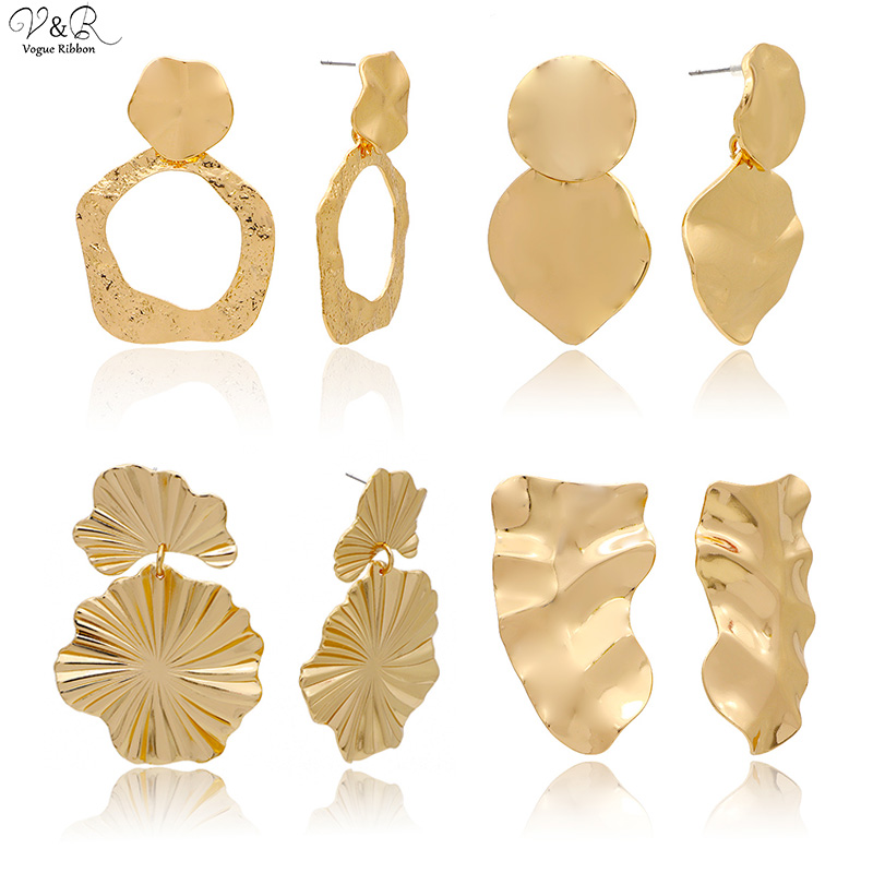 Fashion Jewelry 2020 Gold Plated Antique Geometric Hammered Textured Metal Chunky Statement Drop Dangle Earrings Zara Earings