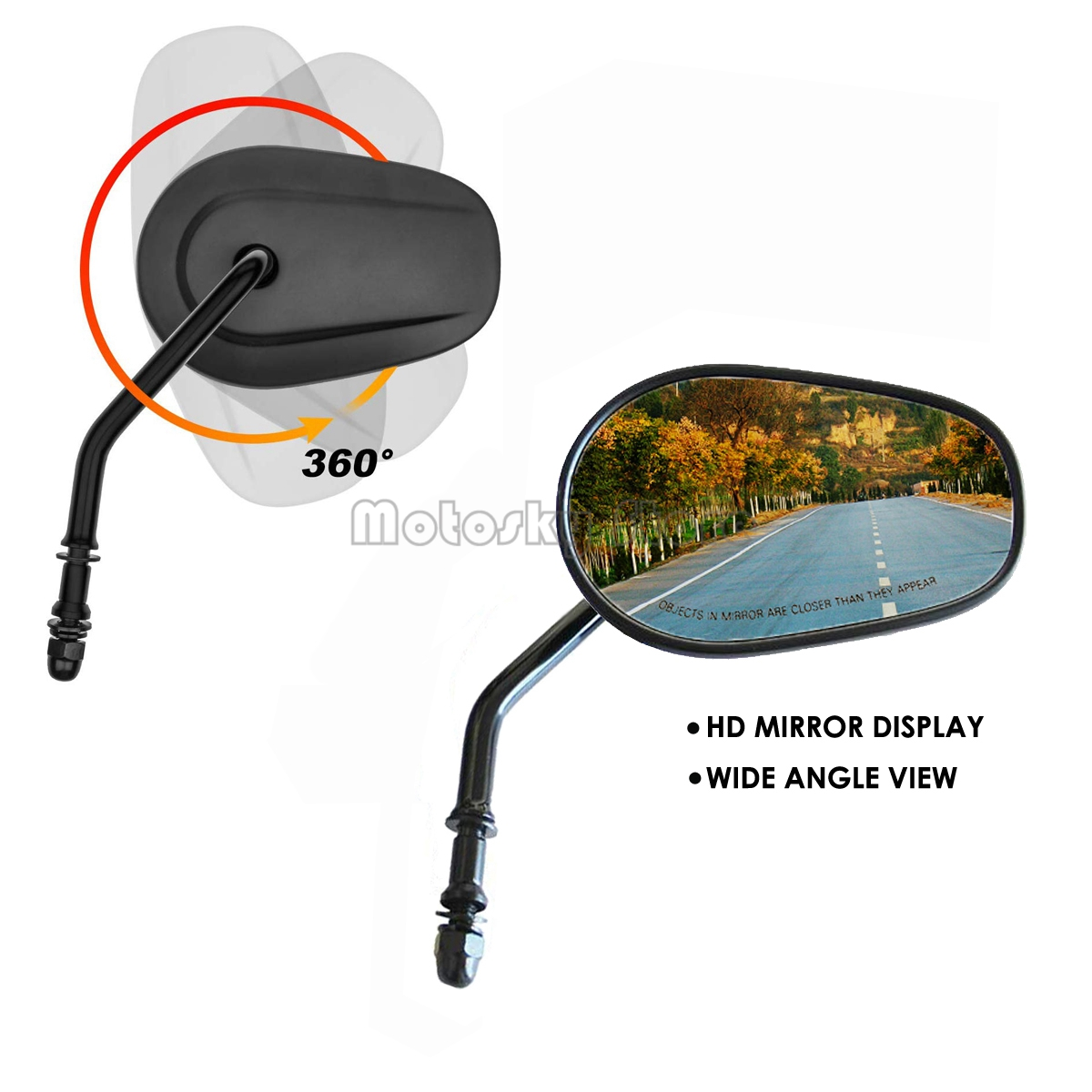 Mirrors for Road King Street Glide Electra Glide Street Bob Sportster Dyna Softail Side Mirrors 1982-2019 Rear View