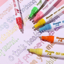 large capacity dream color fluorescent double line pen marker DIY metal papeleria stationery drawing colores painting supplies