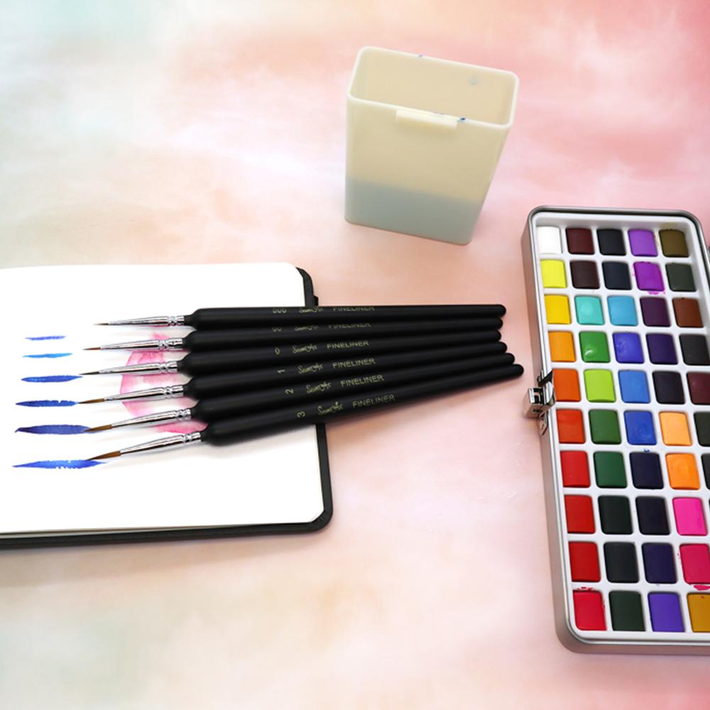 SeamiArt 50Color Solid Watercolor Paint Set Portable Metal Box Watercolor Pigment for Beginner Drawing Watercolor Paper Supplies 2