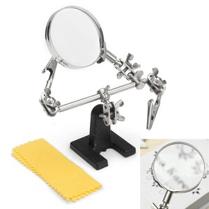 Helping Third Hand Tool Soldering Stand With 5X Welding Magnifying Glass led Adjustable 2 Alligator Clips 360 Degree Rotating