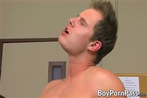 1 twink is fucked bareback by 9 older guys9