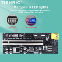 TISHRIC 6 LED Riser 009S 009C más PCI-E PCIE Riser para la tarjeta de vídeo PCI Express adaptador Molex 6Pin SATA a USB 3,0 Cable X1 X16