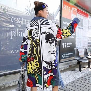 Streetwear autumn loose back Graffiti printed Plus size long jean coat new lapel long sleeve denim women outerwear fashion 2020 autumn fashion loose lapel coat casual women letter printed long sleeve jacket ladies sweet jackets outerwear