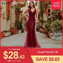 Burgundy Evening Dresses Ever Pretty EP07886 V Neck Mermaid Sequined Formal Dresses Women Elegant Party Gowns Lange Jurk 2020