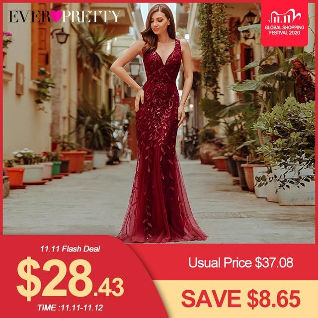 Robes de soirée bordeaux Ever Pretty EP07886 col en v sirène paillettes robes formelles femmes élégantes robes de soirée Lange Jurk 2020