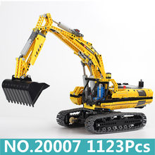 King Bricks Lepinblocks 20007 Motorized Excavator Model Building Blocks Set With Motor Power Technic Series Children Toys Gift(China)