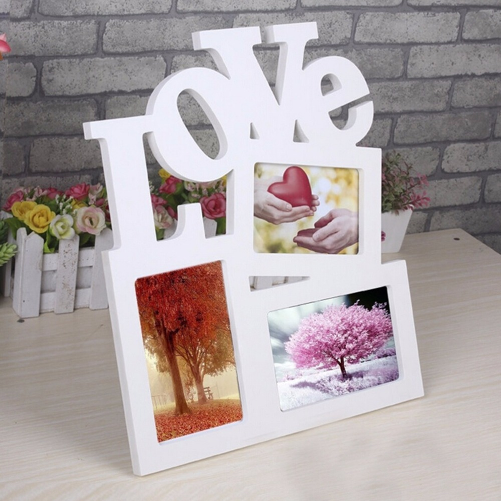 Durable Lovely Hollow Love Wooden Family Photo Picture Frame Wholesale Rahmen White Base Art Home Decor