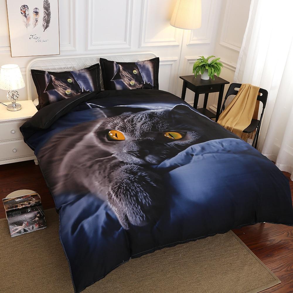 3D Cat Bedding Sets Printing Cartoon 3Pcs Bed Sheets Soft Polyester Duvet Cover Pillowcase 4pcs Kids Bedding Set Home Textiles