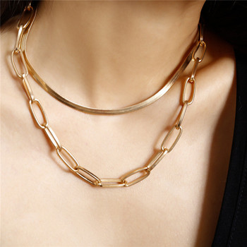 FNIO Punk Multi Layer Snake Chain Necklace for Women Gold Color Simple Curb Cuban Choker Necklace Party Jewelry 2Pcs/Set image