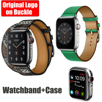 HERM Logo on Buckle Strap for Apple Watch 6 5 4 3 2 1 Swift Leather Double Tour 44MM 40MM 42MM 38MM Band Leather Loop for iWatch