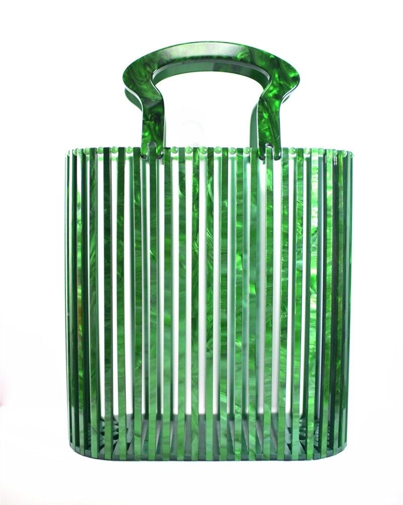 Luxus Frauen Taschen Designer Acryl Woven Tasche Bambus tasche Nähen Hohl Tasche Kupplung Bali Reise Strand Urlaub Handtasche