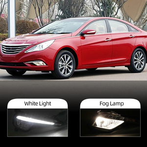 Image 3 - Car Flashing 2Pcs DRL fog lamp cover Daytime Running Lights headlight 12V Daylight For Hyundai Sonata 8  2013 2014