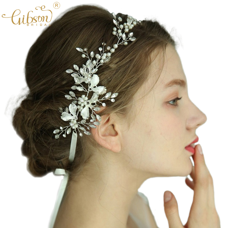 Silver Bridal Handmade Tiara Hair Vine Enamel Leaf With Pearls Headpiece For Wedding Gown Hair Accessories