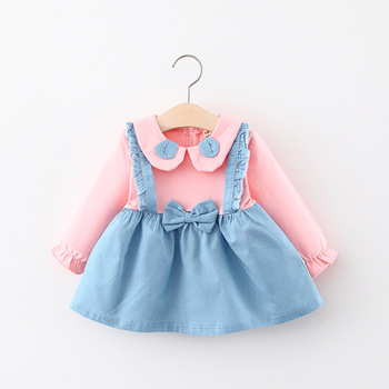 Baby Girl Autumn Denim Long Sleeve Dress Kids Girls Fake-2pcs Bow Cute Princess Dress Kid Color Patchwork Strap Jeans Dresses fhadst new striped patchwork character girl dresses long sleeve cute mouse children clothing kids girls dress denim kids clothes