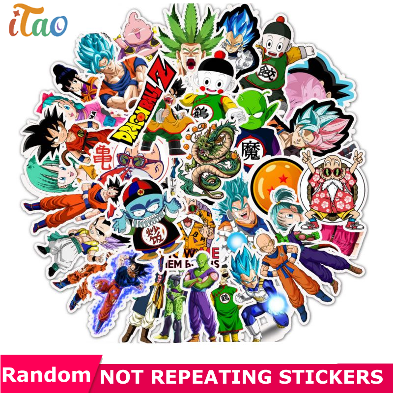 10/20/30/40/50PCS Anime DRAGON BALL Stickers Waterproof PVC Skateboard Laptop Luggage Snowboard Motorcycle Car Kids Toys Sticker