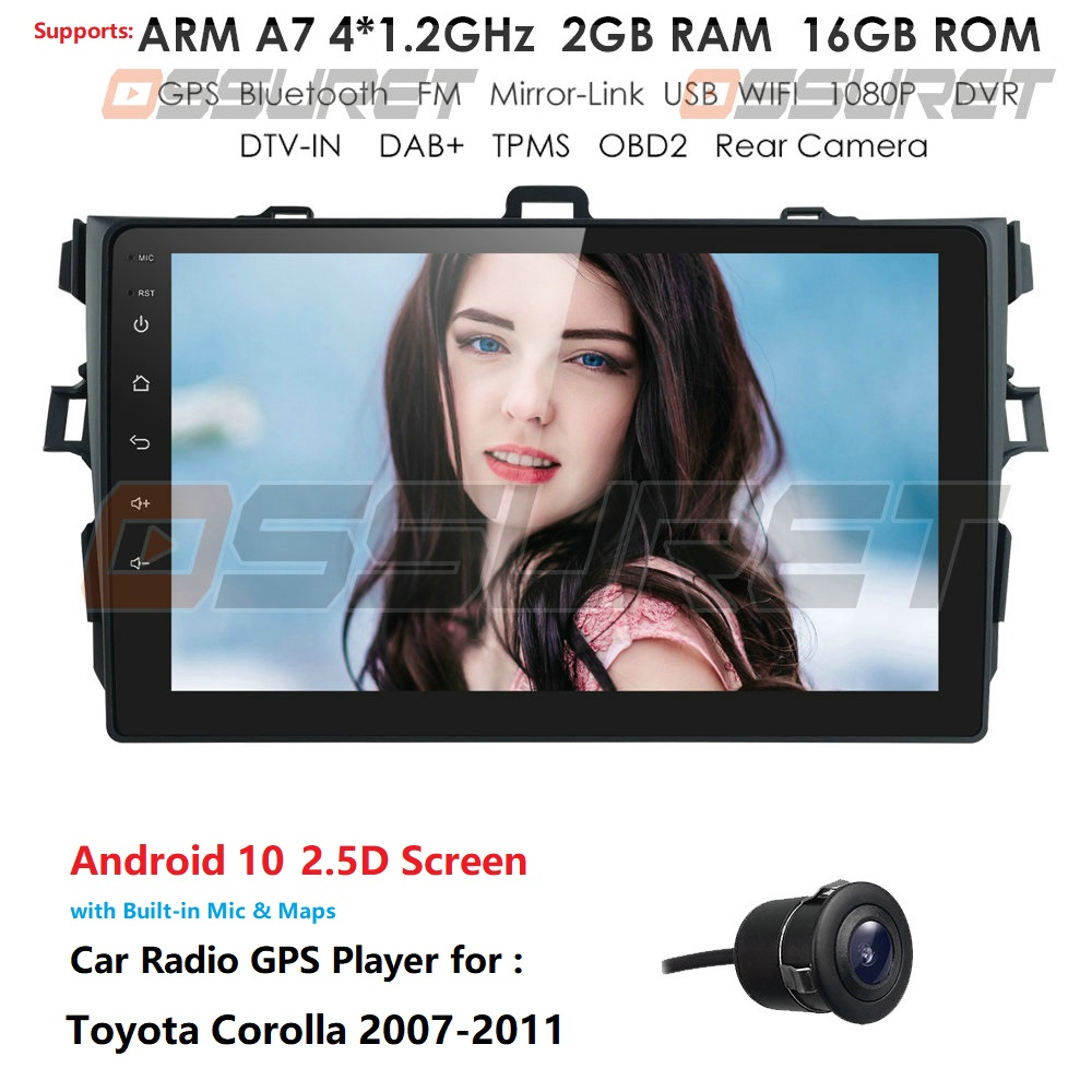 9 INCH 1080P HD Car Radio Android 10 2 DIN Multimedia Player For Toyota Corolla 2007 2008 2009 2010 2011 BT WIFI GPS Navigation(China)