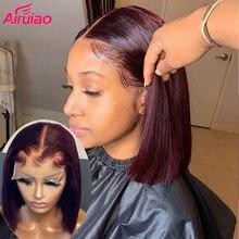 Бордовые цветные человеческие волосы 99J, предварительно выщипанные Детские волосы, Боб, короткие прямые фронтальные парики на сетке, бескле...