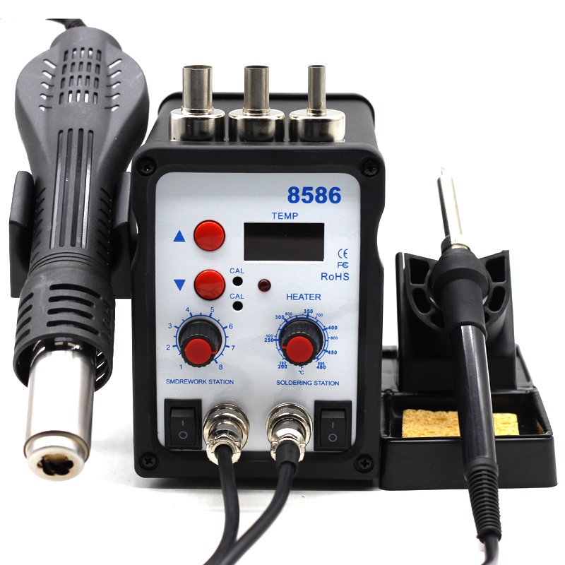 8586 2 In 1 ESD Hot Air Gun Soldering Station Welding Solder Iron For IC SMD Desoldering vs 858 8858 858D 8858D 8032 8018lcd-in Heat Guns from Tools on