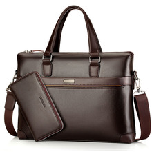 Business Men Briefcase Bag Pu Leather Shoulder Bag Men Laptop Bags Office Large Capacity Man Briefcase Purse WBS503 concise men s briefcase with pu leather and black design