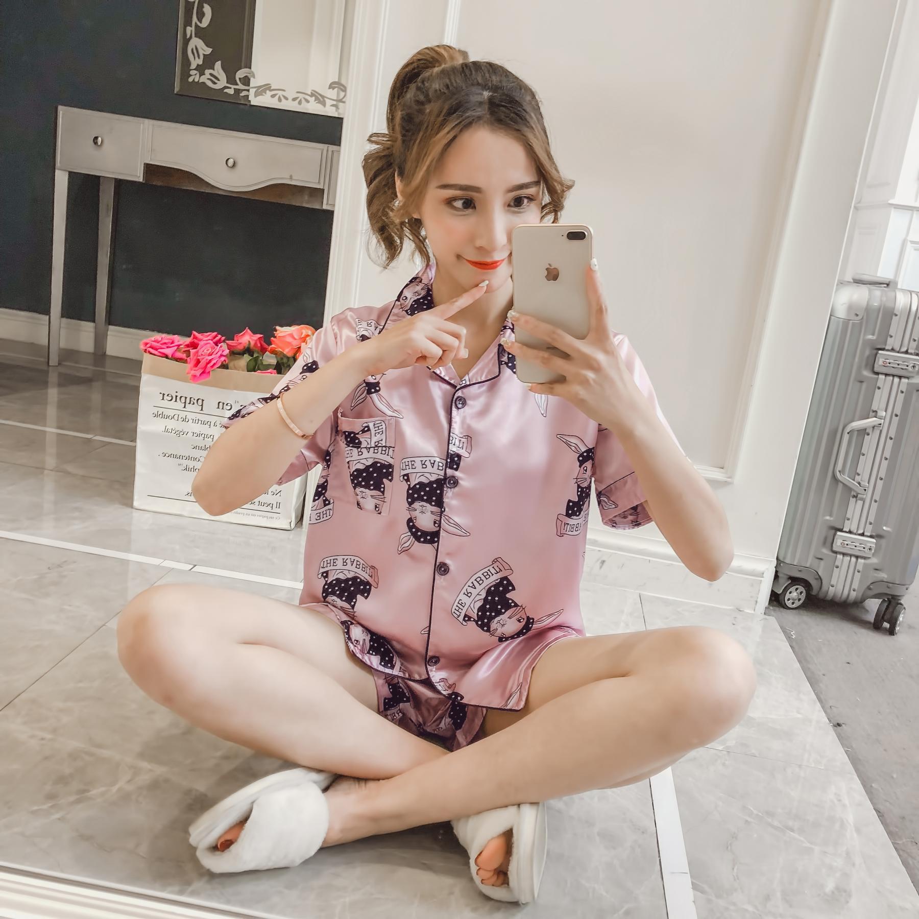 Viscose Pajamas Women's Summer Rabbit Short Sleeve Real Silk Two-Piece Set Korean-style Fresh Students Loose-Fit Home Wear